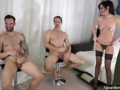 BTS - Jennifer White takes on 2 guys - part 1