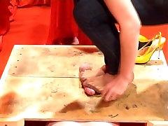Cock Trampling Julia Cum Nylon Feet