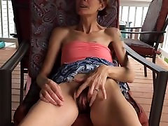 Skinny wife lifting her dress to show hairy pussy