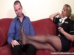Stewardess give footjobs
