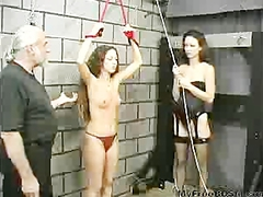 Teen Slave Gets Her Arms And Pussy Strapped By First Time Mistress bdsm bondage slave femdom domination