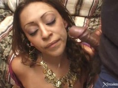 Two american dicks cum on nice indian tits