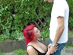 German Redhead Teen fuck outdoor with older men
