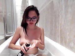 Perfect cute asian shaves in bath