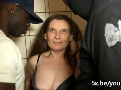 French mature Elisa gangbanged in construction site by workers