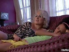 Sleeping gf and mom go lesbian