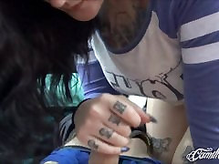 Tattooed Vixen Camille Black Gives Handjob & Blowjob