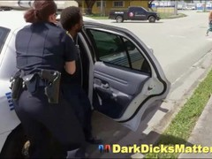 Slutty Policewoman Maggie Green Sucking Suspect With Big Black Weapon