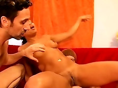 Disgraced ebony beauty bends over to blow and get pumped