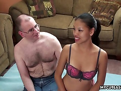 Hairy dude fucks anal hole of flat chested Asian chick