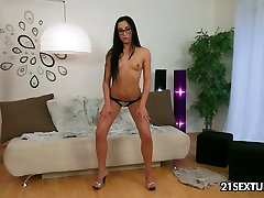 Super adorable babe strokes her body and fucks wet slit with sex toy