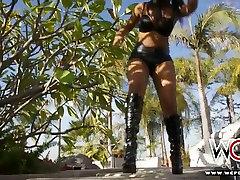 Splendidly hot ebony lesbians are having fun outdoors