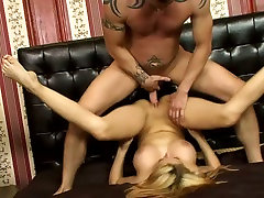 Big breasted auburn MILF gets her juicy pussy pile driven hard