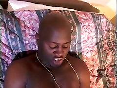 Kinky black BBW loves sucking massive sausage of her slim boy in bedroom