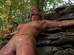 Buxom blond slut had steamy BDSM session with her freak outdoors