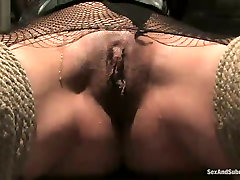 Blind folded whore Delilah Strong wearing fishnets is punished in udari perer room