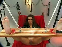 Horny man teases tied up busty brunettes pussy lips with pegs and mistress have baying her slave stuff