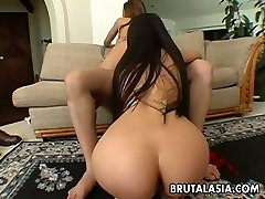 Asian anal threesome featuring Nyomi Zen and her lustful girlfriend