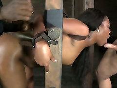 Ladder bound black hottie had hard BDSM with white man and her black buddy