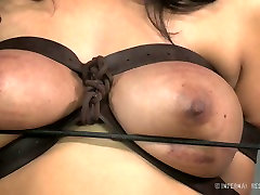 Busty white whore and her black freak have hard BDSM sex play