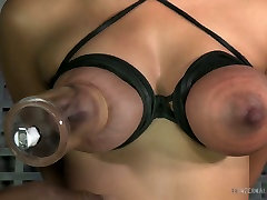 Busty raven haired slut is not against steamy BDSM with her freak