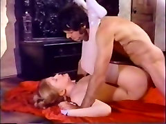 Sweet blonde babe in white stockings gets fucked right on the floor