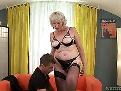 Insatiable fair haired granny blows big staff cock of young freak