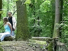 Wild BDSM session in the forest with svelte brunette babe Claudie