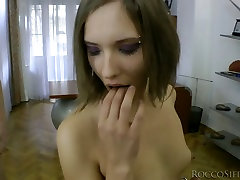 Insatiable nympho with small tits takes part in MMF threesome
