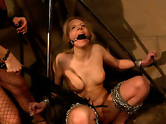 Ruined blond whore gets crucified and attached to piper perri with 5 nigga construction