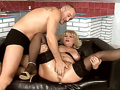 Immense blond mature BBW gets her hairy pussy tickled with vibrator