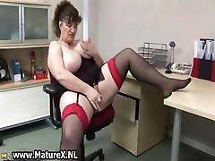 Horny fat mature lady fucks part1