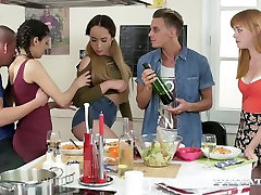 Sexy girl Anny Aurora and her friends fuck hot guys in group sex