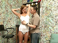 Nasty hottie Julia Coburn gets her pussy and armpits licked