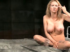 Busty blonde mommy gives interview after ebonies orgasm play