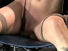 Restrained brunette bitch Elise Graves had hard BDSM session with her black dude