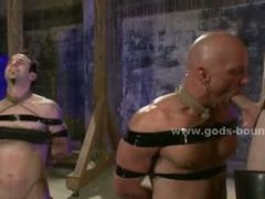 Gay masked sex slave tied with hands behind and humiliated in brutal fetish bdsm sex