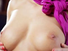 Luxury busty babe dildoing hungry snatch
