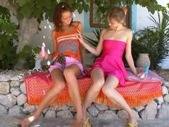 Two russian lesbian girls vibrating