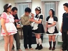 Mature asian maids cunt licked by masters in group sex
