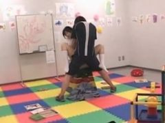 Asian delicate teen deep throating her teachers shaft