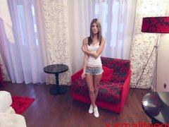 Skinny small Russian teen casting.