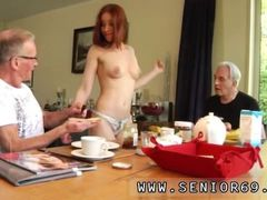 Sexy strip hd shaved pussy Minnie Manga licks breakfast with John and