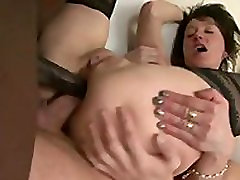 Euro MILF double-analed by black and white cocks