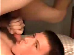 Two twinks showing how to do a self cum facial