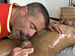 Hairy man gets a lusty anal spooning from massage therapist