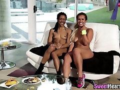 Busty ebony lesbian babe