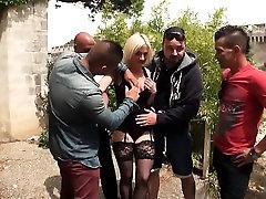 Caroline gangbanged in stockings