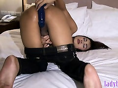 Big tits ladyboy drills her her own asshole with a dildo