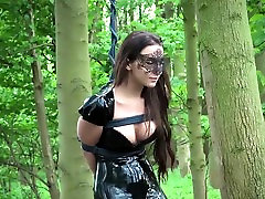 Beautiful serf indoor and outdoor bdsm exposed